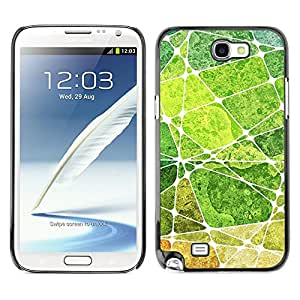 Qstar Arte & diseño plástico duro Fundas Cover Cubre Hard Case Cover para SAMSUNG Galaxy Note 2 II / N7100 ( Leaf Green Nature Painting Abstract)