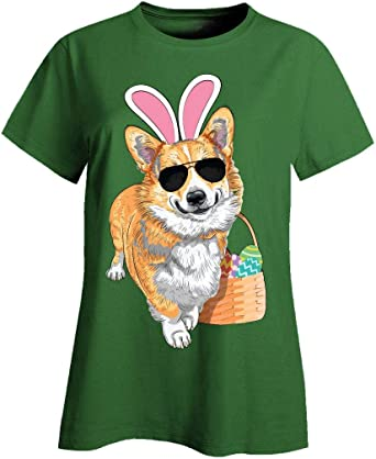 Red Corgi Cute Dog with Bunny Rabbit Ears /& Basket Kids T-Shirt Easter Corgi