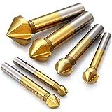 Malayas® Avellanadores HSS 90º Juego de 6Pzas Brocas Avellanadoras Enchapado de Titanio de Ø 6.3mm 8.3mm 10.4mm 12.4mm 16.5mm 20.5mm con 3 Alas de Corte, para Madera Metal Aluminio