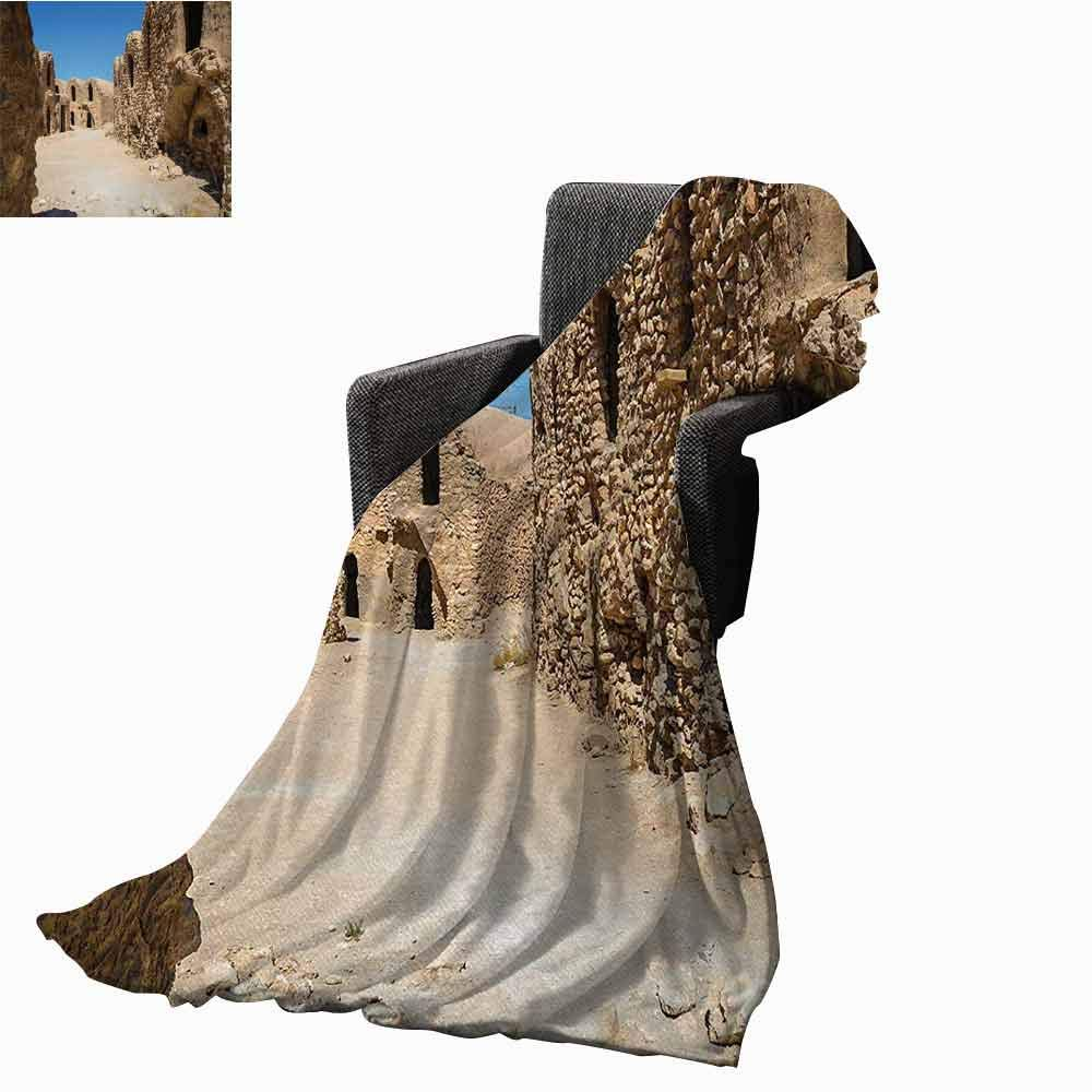 Galaxy Printing Throw Blanket,One of Abandoned Sets of The Movie Tunisia Desert Phantom Menace Galaxy Wars Themed Super Soft Luxurious Blanket for Bed Couch(62''x60'')-Brown Blue