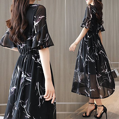 de Broken Fashion Moyenne without short Robe Mousseline qualit Robe de Jupe Dame Flower Robes ribbon sleeves sleeves MiGMV Black imprime CAOS85S