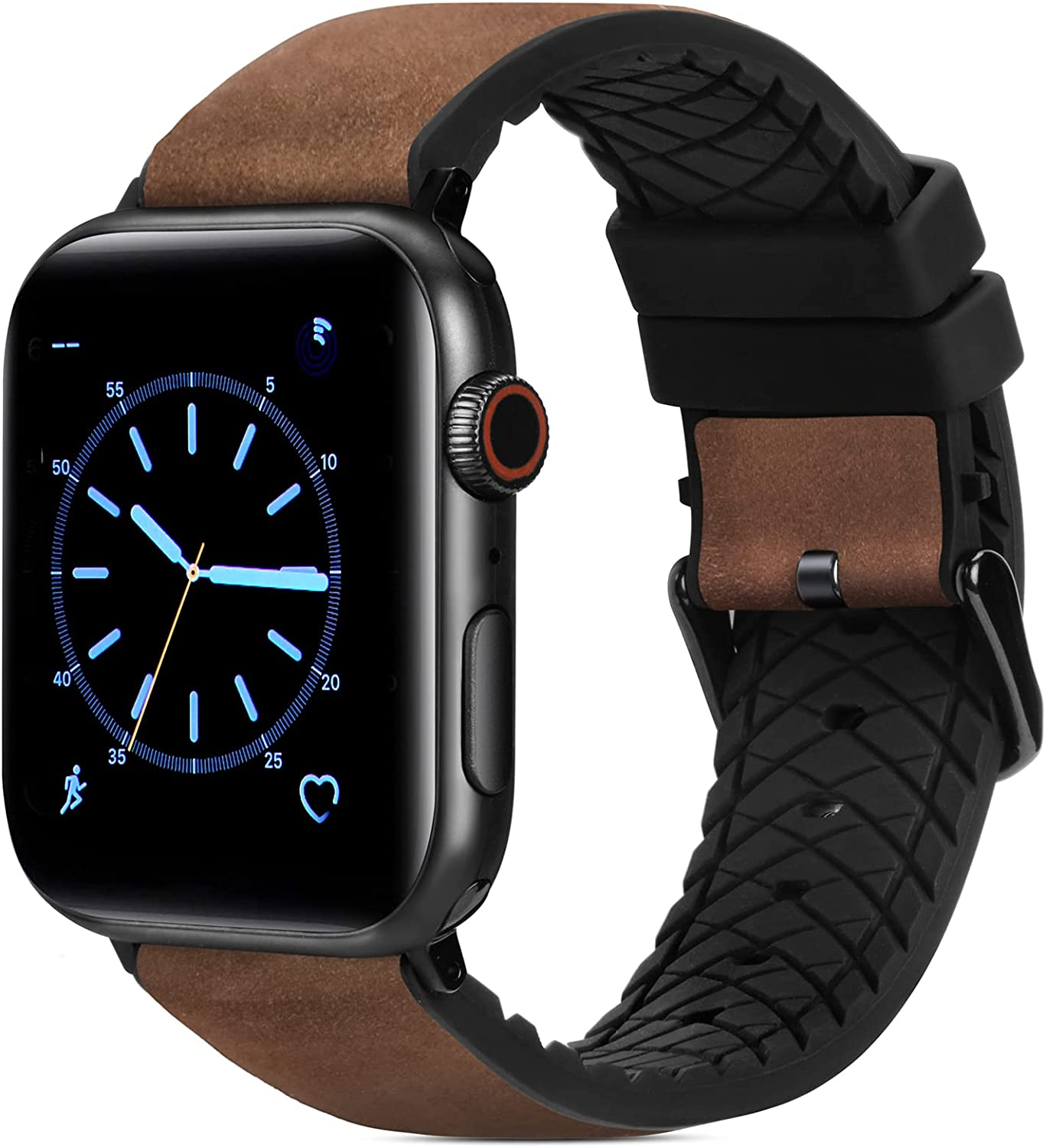FITWORTH High End Hybrid Band Compatible with Apple Watch Band 42mm 44mm, Silicone + Genuine Leather, Simple, Neat & Sweat Resistant, Suit for Men's Business Casual & Light Sports (Coffee, 42/44)
