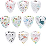 10-Pack Baby Bibs, HECCEI Bandana Drool Bibs for Drooling and Teething, 100% Organic Cotton, Soft and Absorbent, Hypoallergenic Unisex Bibs for Baby Boys & Girls, Teething Bibs for Infant, Toddler (Animal Pattern Bib)
