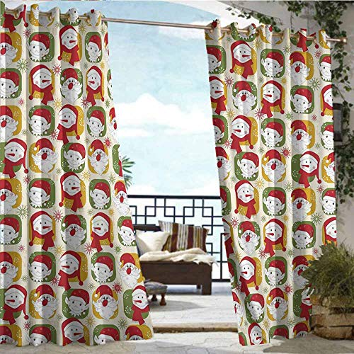Qenuan Outdoor Window Curtains,Christmas,Cheerful Faces of The New Year Santa Claus Snowman and Elves in Red Party Hats,Multicolor,Outdoor Curtain for Patio Waterproof 63