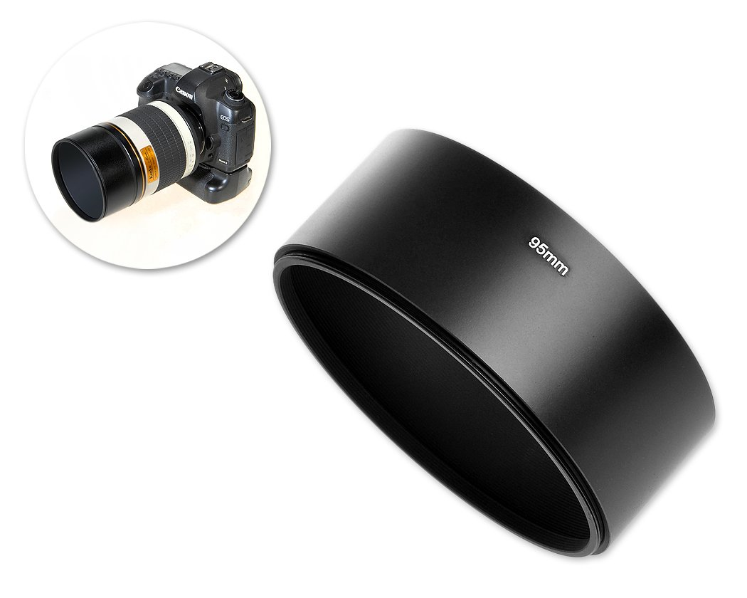 Ace Select 39mm x 95mm Screw In Metal Lens Hood for Mirror Tele Reflex Camera Lens with 95mm Filter Thread