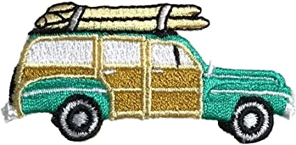 Iron on Applique//Embroidered Patch Teal Sedan//Surfboards Beach Woodie//Woody