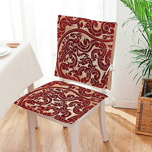 Mikihome 2 Piece Set Chair pad Thai Culture Vector Abstract Background Flower Pattern Wallpaper Design Print Burgundy Garden Patio Home Chair Cushions Mat:W17 x H17/Backrest:W17 x H36 (Mat Massage Thai Shiatsu)