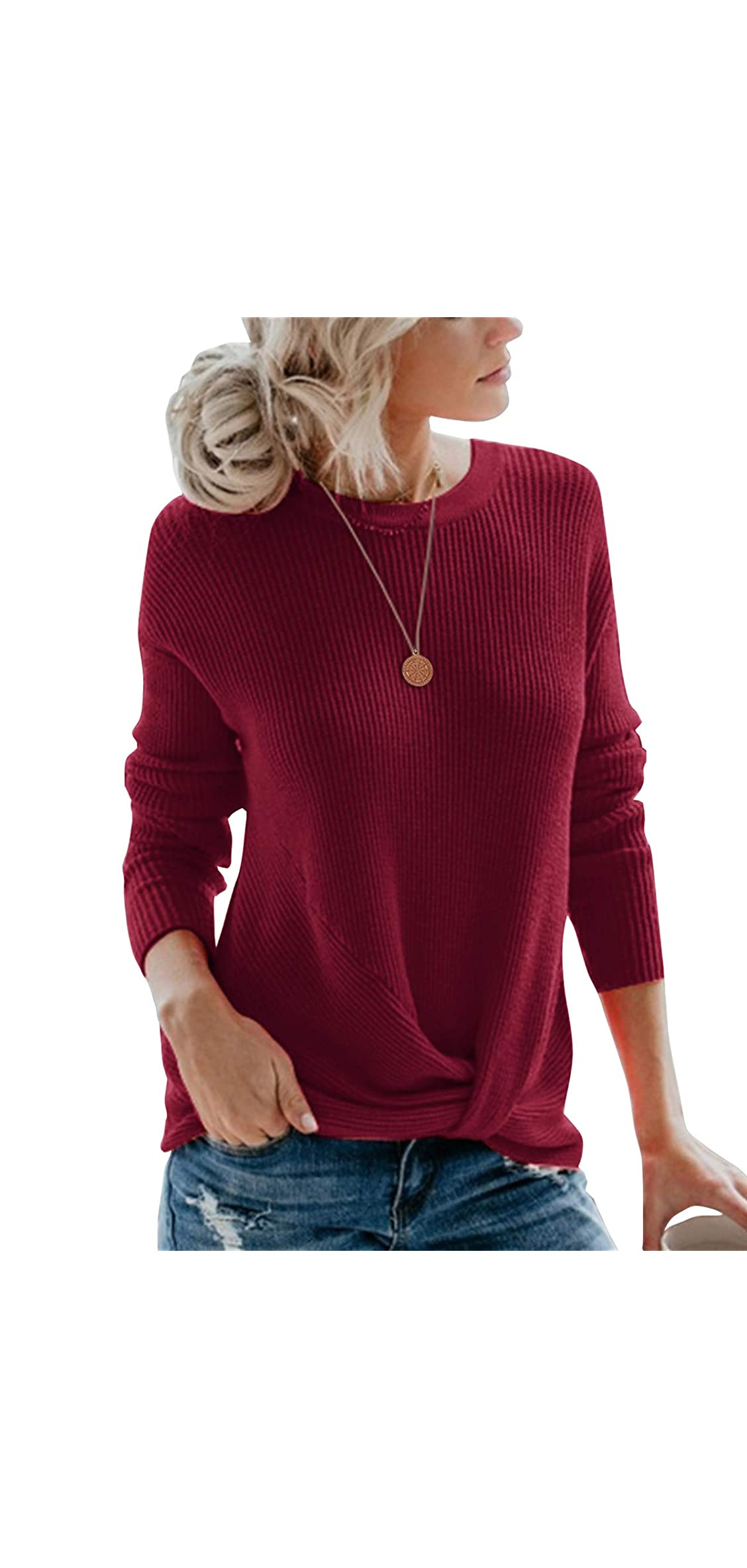 Women's Pullover Sweaters Cute Front Twist Knot Long