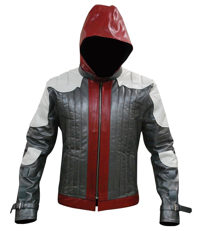 Batman Red Hood Stylish Mens Biker Genuine Hooded Leather Jacket