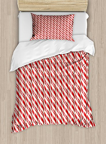 Ambesonne Candy Cane Twin Size Duvet Cover Set, Red Christma