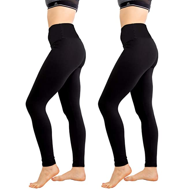 Womens High Waisted Leggings 1/2 Pack- Yoga Pants Workout ...