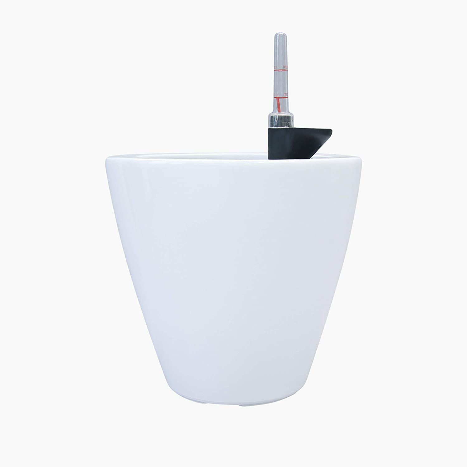 """CATLEZA Smart Self-Watering Round Planter Pot for Indoor and Outdoor 10.2"""" Cone Eco-Friendly Suitable for All Plants, Herb, Succulents, Flowers in White"""