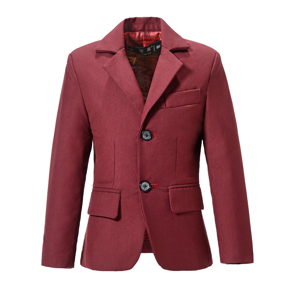 YuanLu Boys Formal Suits Blazer Kids Single-Breasted Jacket For Weddings Size 7 Burgundy