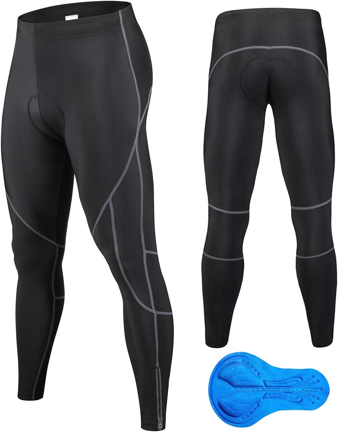 JEPOZRA Pantalones de ciclismo de invierno para hombre, largos con acolchado de gel 4D, para bicicleta de montaña, transpirables, de compresión, térmicos, pantalones deportivos