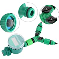 Zyyini Temporizador de Agua, Kit de Controlador de riego de riego automático con Sistema de Y con Conector rápido en Forma de Y 5 Piezas por Juego