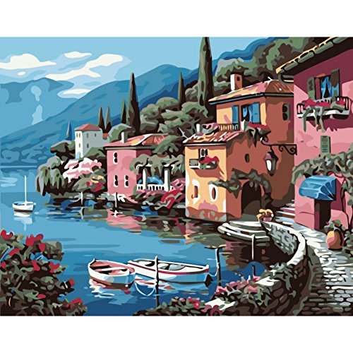 Fairylove 40 x 50 Paint by Numbers For Adults DIY Oil Painting,Lakeside Village (Village Lakeside)