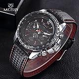 MEGIR Mens Fashion Leather Band Aviator Military Sport Quartz Wrist Watch Gift