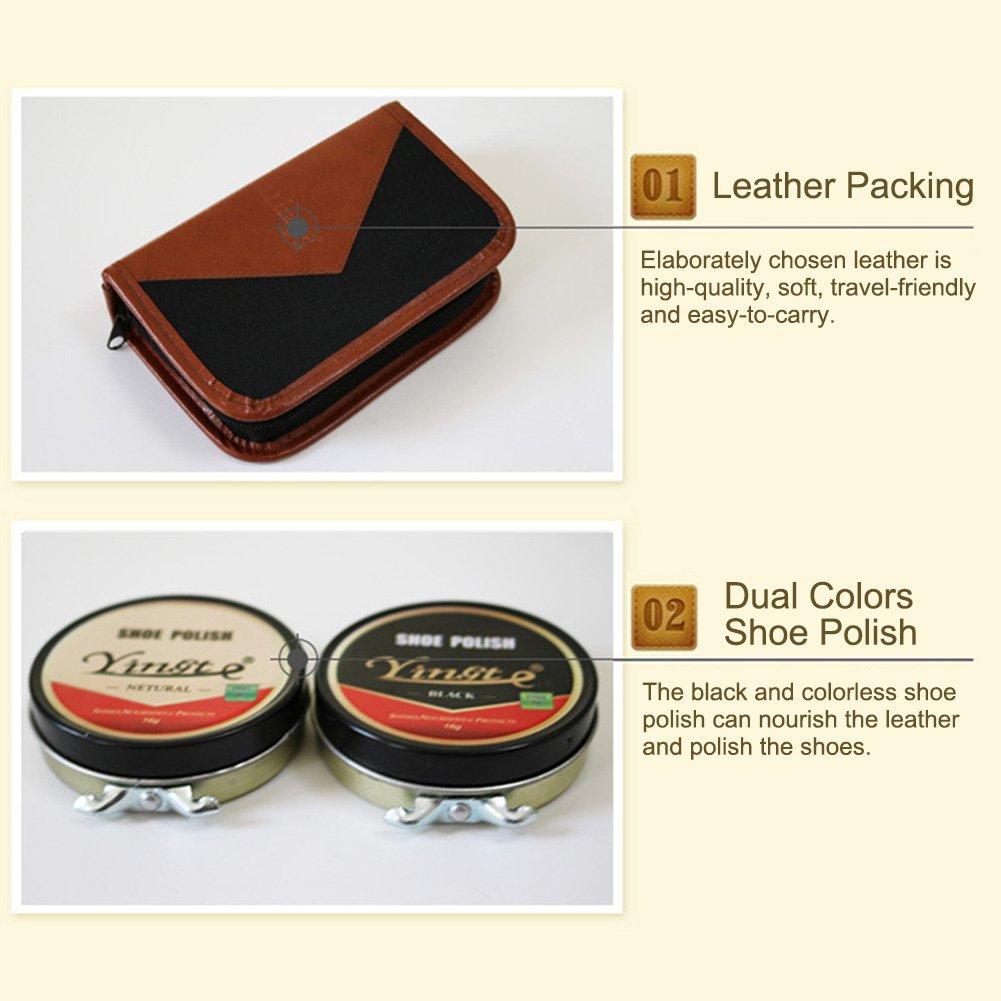 Sundlight 8 Piece Shoe Care Set,Travel Shoe Shine Brush kit for Leather Shoes,Purse,Hat,Belt by Sundlight (Image #5)