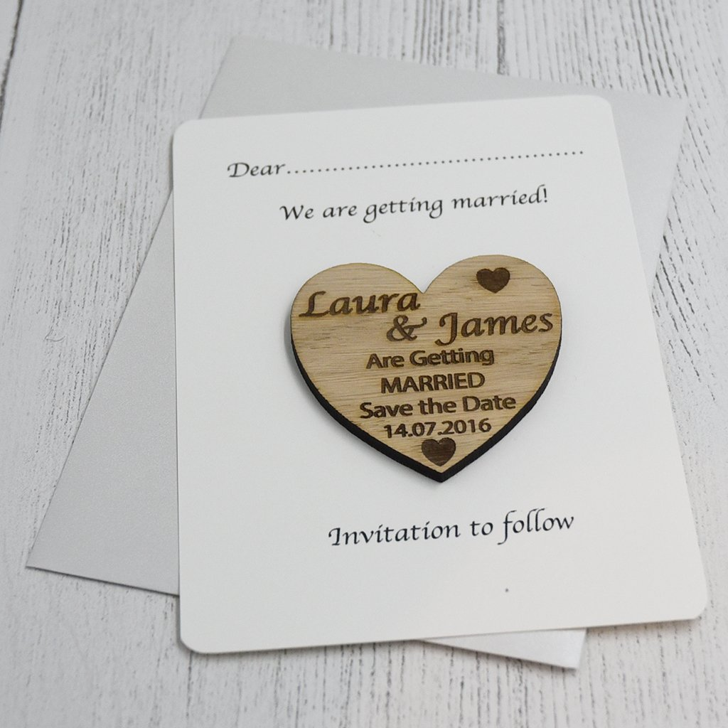 Personalised Engraved Rustic Oak Wooden Save The Date Fridge Magnets Invites