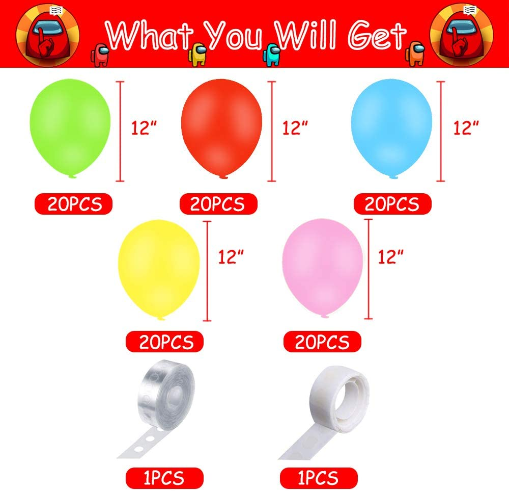 102PCS 12Inch Balloon Garland Kit Including Red Yellow and Blue Balloons Decorations for Among Us Theme Party Decorations Among Us Party Supplies
