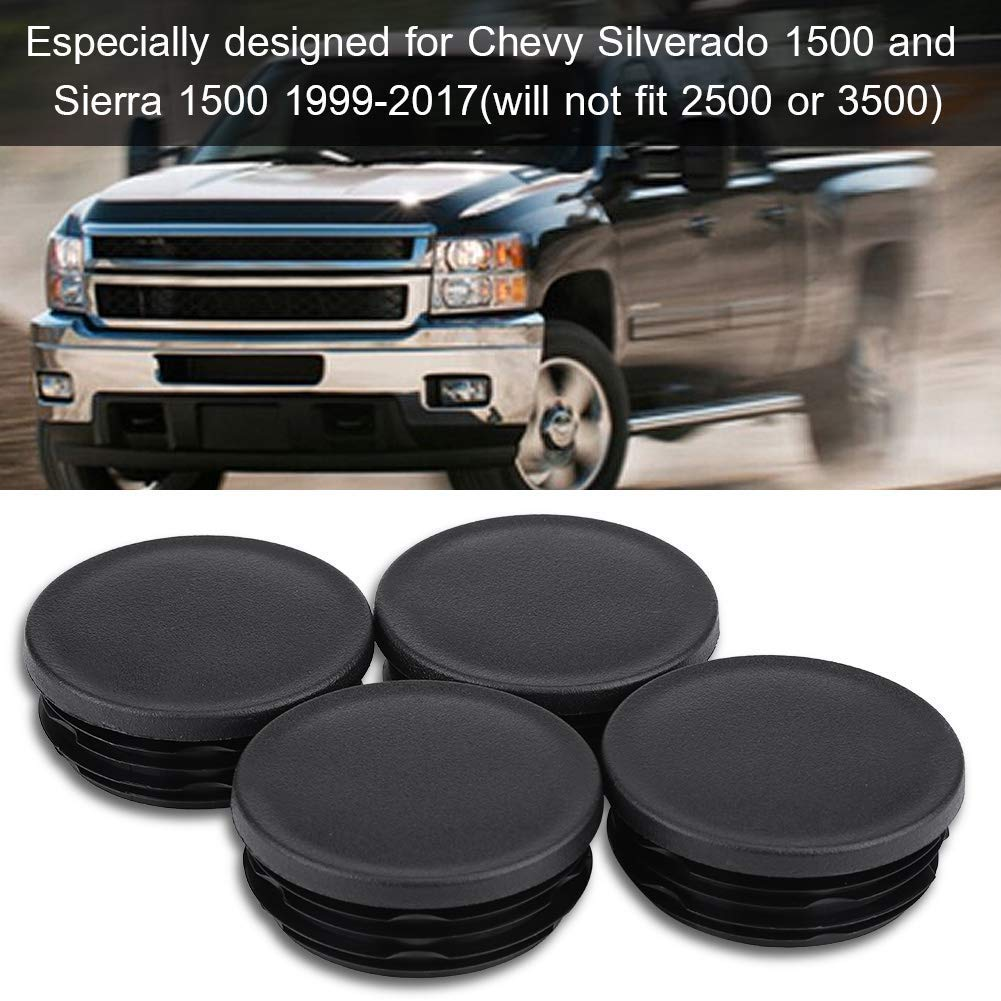- Frame Tube Hole Plugs Rear Wheel Well Compatible with Chevy GMC Silverado OGC Sierra 1500 1999-2018 4 Pack