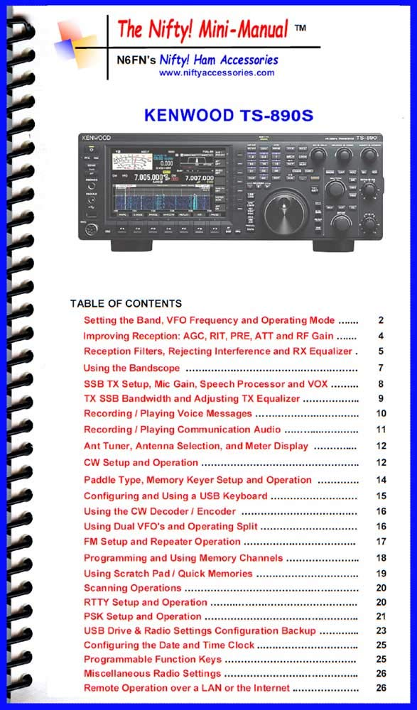 Kenwood TS-890S Mini-Manual: Nifty Accessories: Amazon com