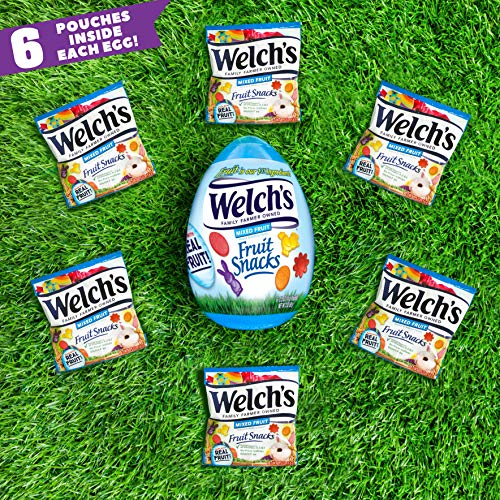 Welch's Fruit Snacks, Mixed Fruit Easter Basket Eggs, Gluten Free Candy Stuffers, (Each 6 Count of 0.5 oz Pouches) 3 oz, Pack of 6