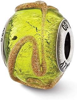 Lex & Lu Sterling Silver Reflections Italian Light Green w/Textured Lines Glass Bead