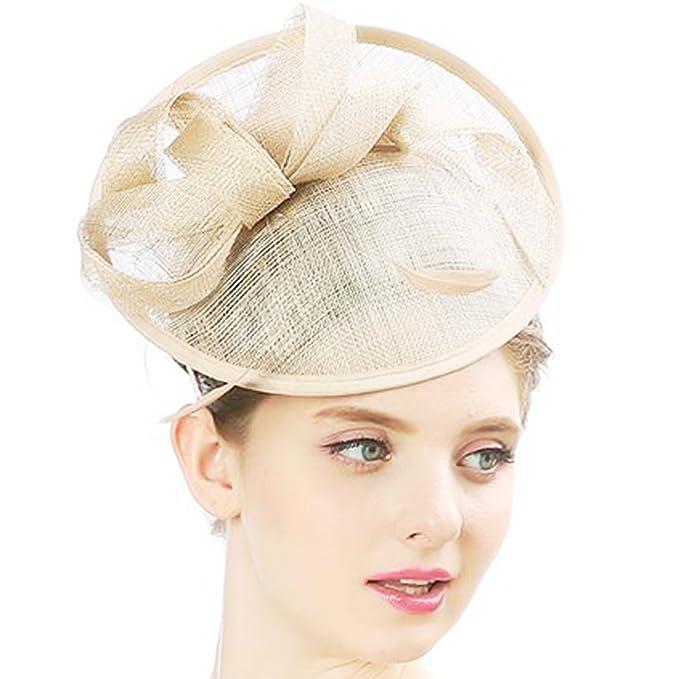 32108f933ab4 KAXIDY Cappello Copricapo Cerimonia Copricapo Donna per Sposa Capelli Fiore  Organza con Piuma (Beige)