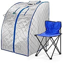 Durasage Infrared IR Far Ion Portable Indoor Personal Spa Sauna with Air Ionizer, Negative Ion Generator and Heating Foot Pad with Chair