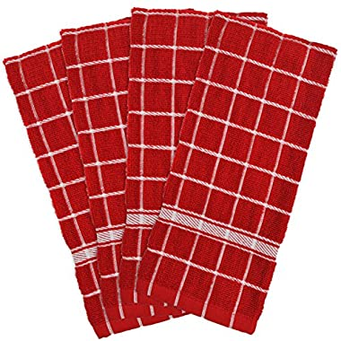 DII 100% Cotton, Machine Washable, Basic Everyday, Terry, Kitchen Dishtowel, Ultra Absorbant, Windowpane Design, 16 x 26  Set of 4- Solid Red