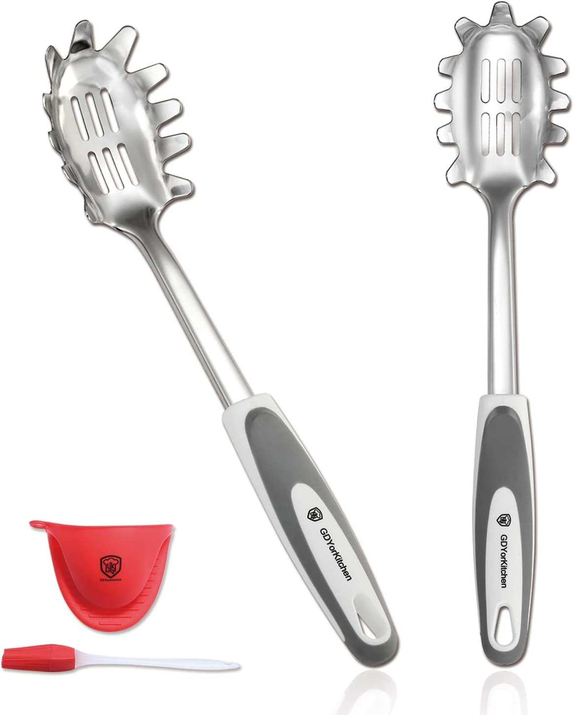 Spaghetti Spoon Server (Set Of 2) - Stainless Steel Slotted Pasta Spoon With Durable Pasta Fork, Comfortable Grip Design Pasta Server For Kitchen, Free Silicone Brush And Bonus Oven Mitt - For Gifts
