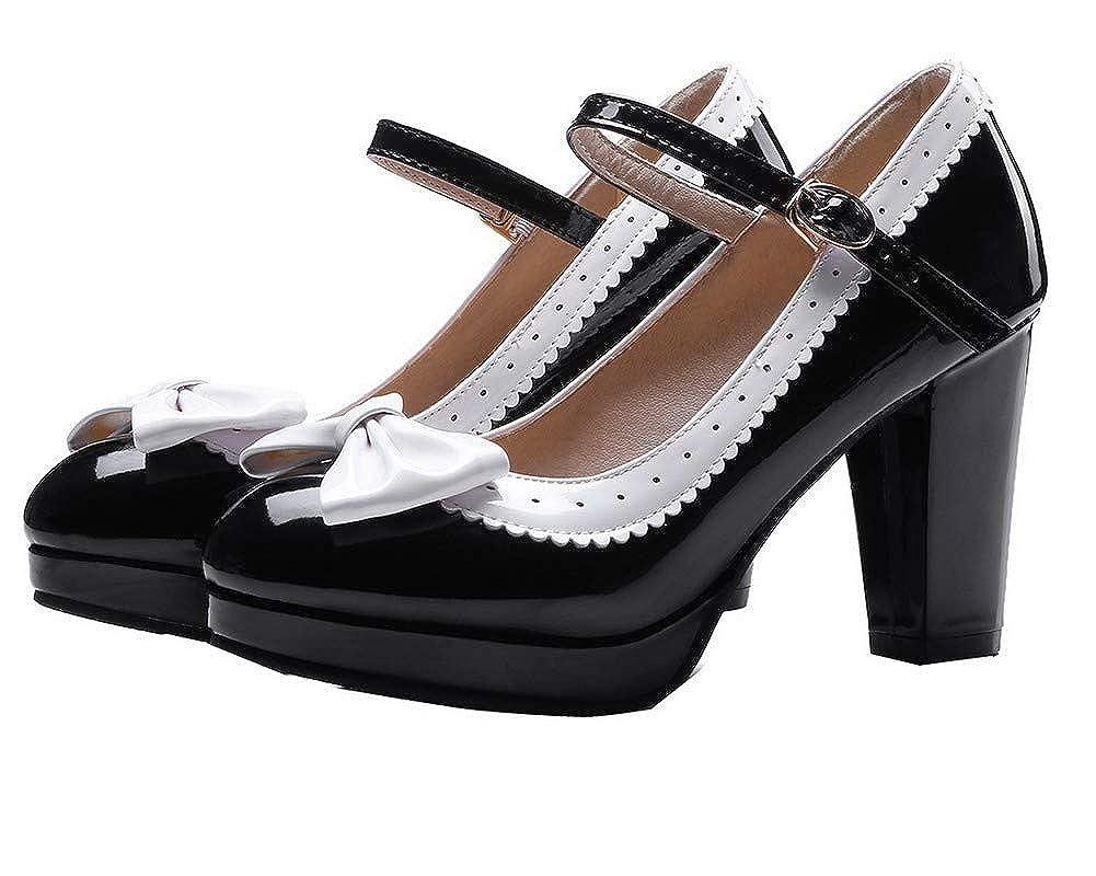 AalarDom Femme Verni Couleur Unie Boucle à Talon Haut Chaussures Légeres, TSFDH004509 Noir