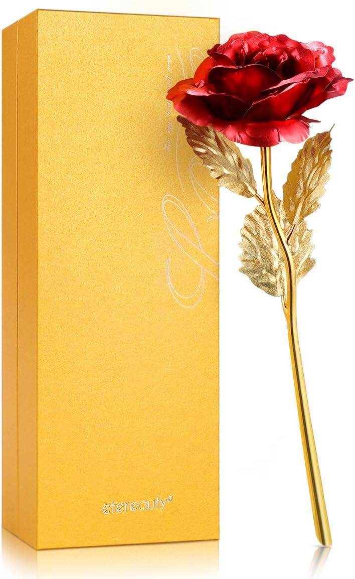 ETEREAUTY Rosa de Oro 24K, Artificial Gold Rose con Elegante Caja de Regalo y Tarjeta, Regalos románticos para el Día de San Valentín, Día de la Madre, Aniversario, Cumpleaños, Navidad