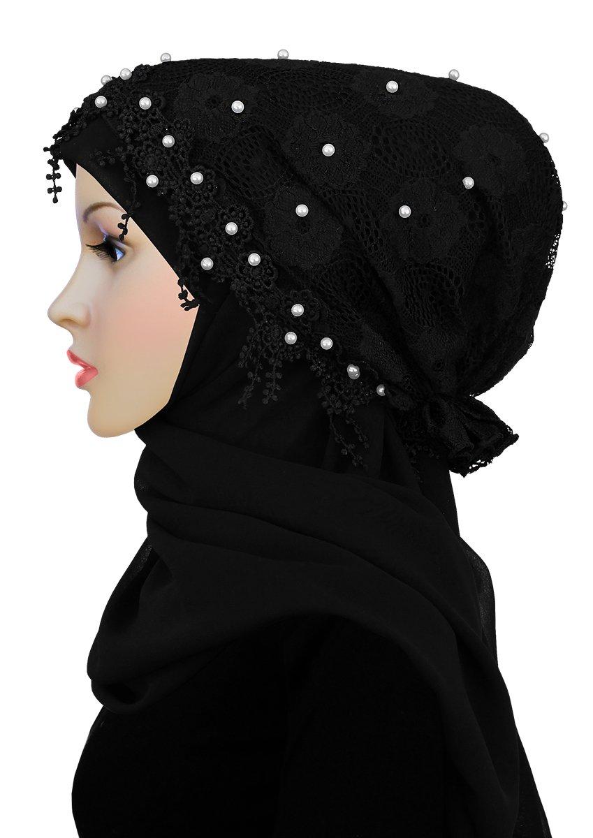 Salma Hijab Lace Cap & Chiffon Scarf 2 Piece Set (Black)