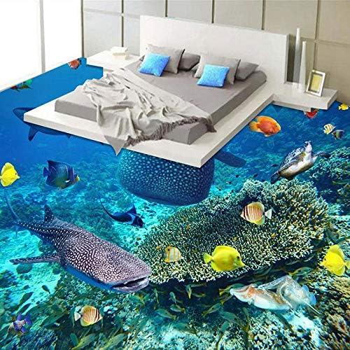 Zghnzk カスタムサイズのサメ魚海藻サンゴ3D床壁画壁紙リビングルームのバスルームPvc防水自己接着床ステッカー-280X200Cm
