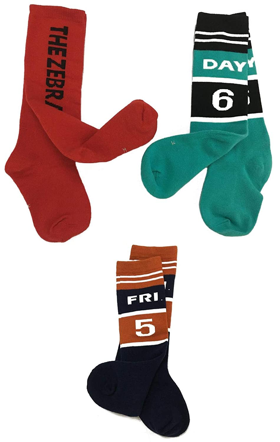 Wodison 6 Pairs Girls Boys Cotton Middle Tube Socks Letter Print Pattern Cool Sock And Day Number Crew sport Socks