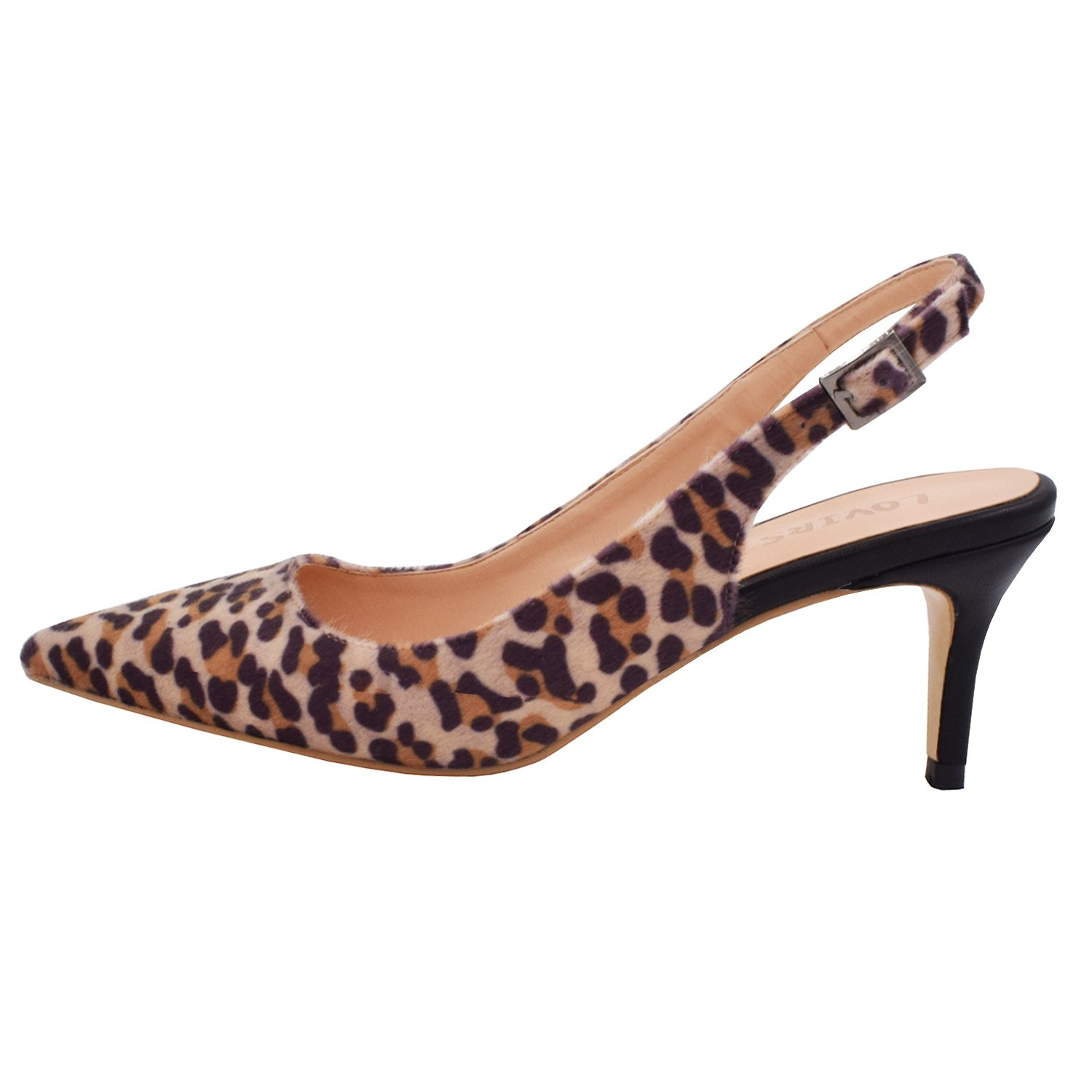 Lovirs Womens Slingback Ankle Strap Sandals Stiletto Mid-Heel Pointy Toe Pumps Shoes for Party Dress B077YXF4TR 5 B(M) US|Leopard-black