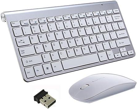 Teclado Inalámbrico y Mouse, EONHUAYU Teclados Inalámbricos Portátiles y Mouse Combo Ratón Ajustable DPI Completo 2.4G para Windows, Mac OS, Laptop Smart TV-UK Layout (Plata): Amazon.es: Electrónica