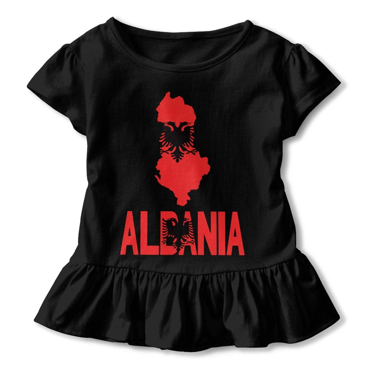 HYBDX9T Little Girls Albania Map Flag and Text Funny Short Sleeve Cotton T Shirts Basic Tops Tee Clothes