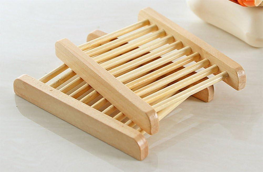 negro lumanuby Generic de madera de bamb/ú madera natural caja de jab/ón plato de jab/ón de platos de jab/ón jabonera de madera dise/ño de drenaje de agua 11,5/x 8,5/x 1,5/cm -1pcs beige 11.5*8.5*1.5CM