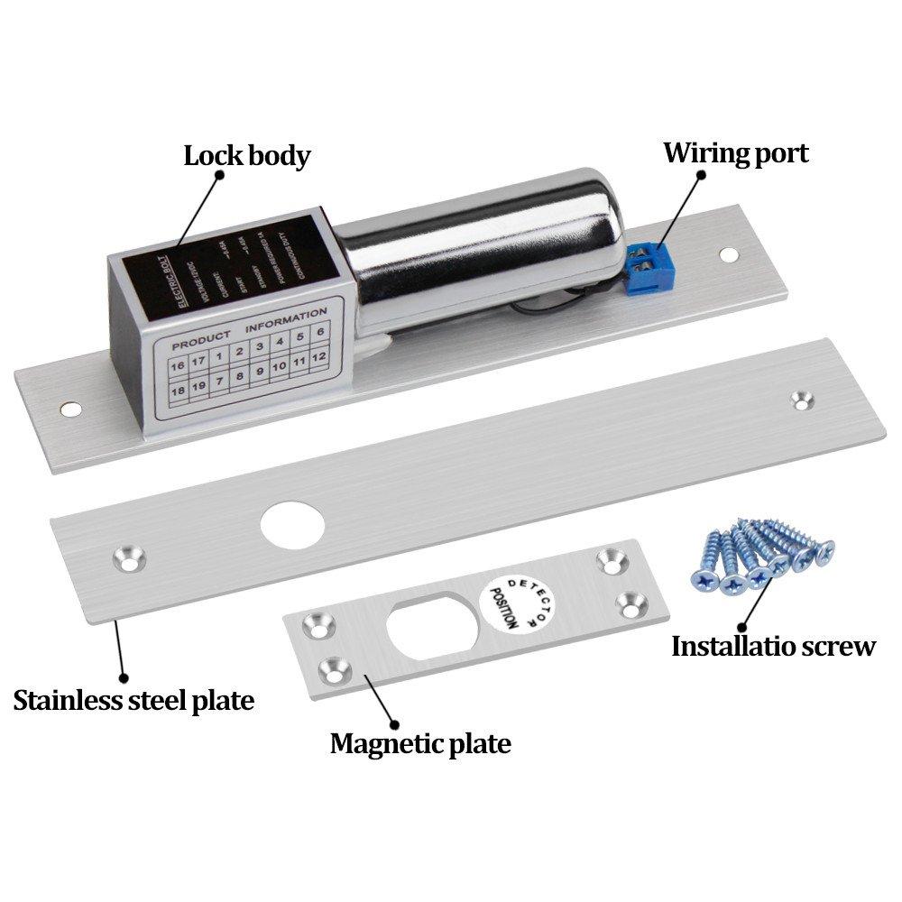 LIBO Cerradura de perno el/éctrico 2 l/íneas DC 12V Fail Safe Temperatura normal de bloqueo electr/ónico para el sistema de control de acceso de puerta de hierro de madera de vidrio