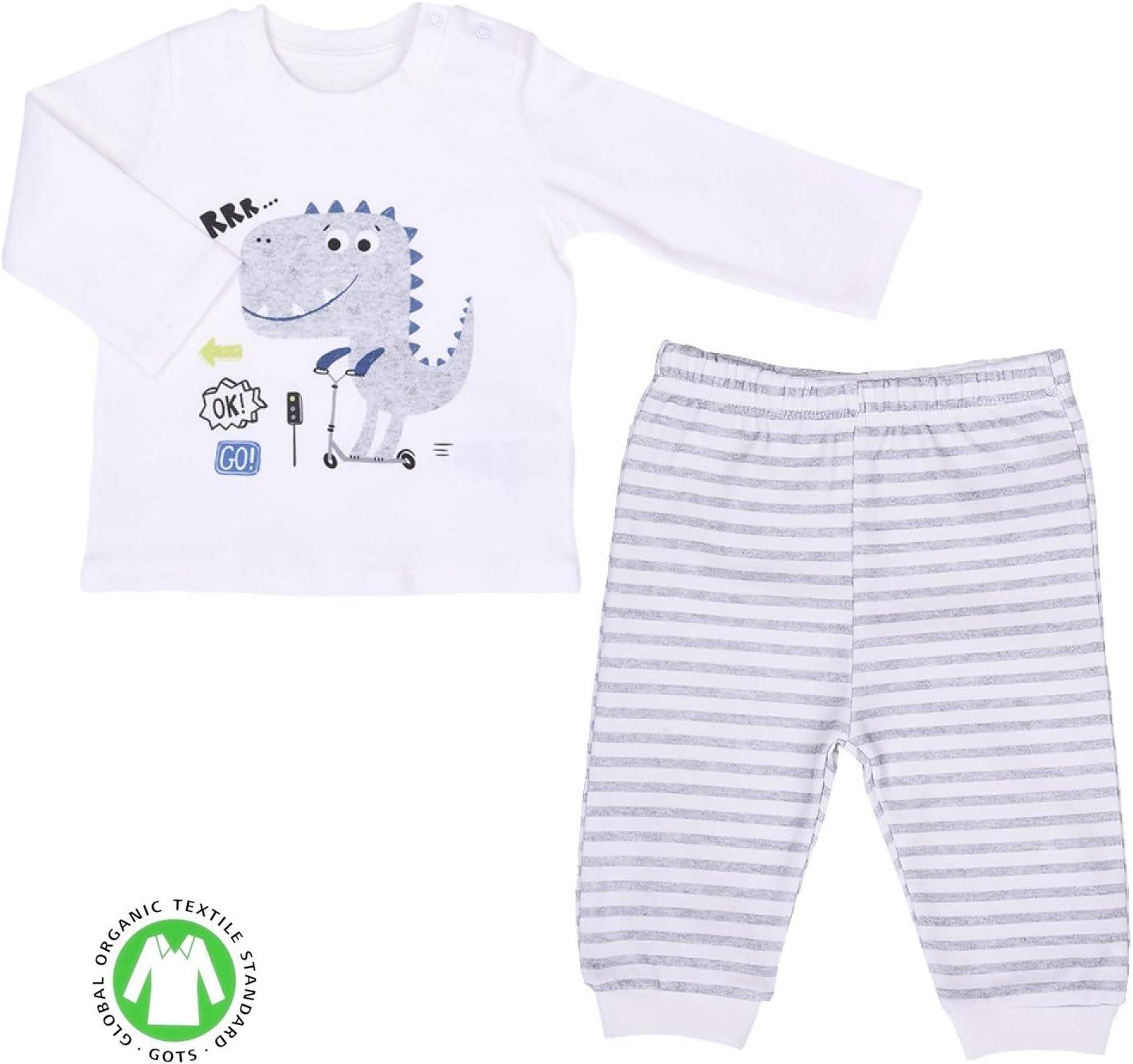 pyjama 2 pi/èces Ensemble v/êtements B/éb/é en coton biologique Dino Trafic Sevira Kids