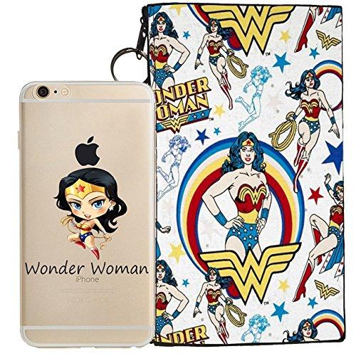 Suicide Squad, Wonder Woman, Batman, Harley Quinn, Spider Man, Deadpool Jelly Clear Case for Apple iPhone 7 (includes Zipper Pouch) (Wonder Woman)