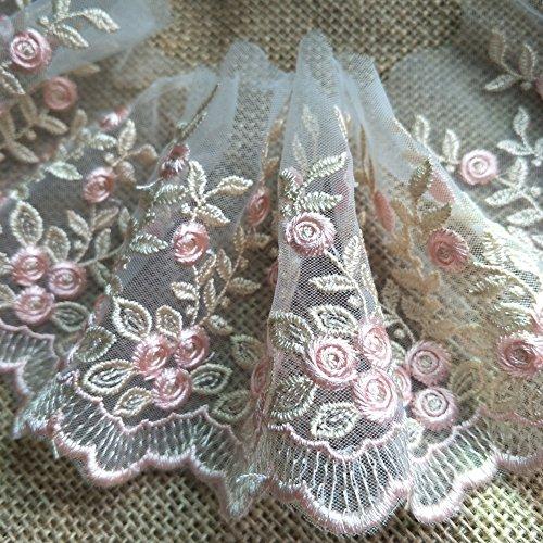 FQTANJU 2 Yards Vintage Embroidered Lace Edge Trim Ribbon Wedding Applique DIY Sewing Craft,10CM Widths