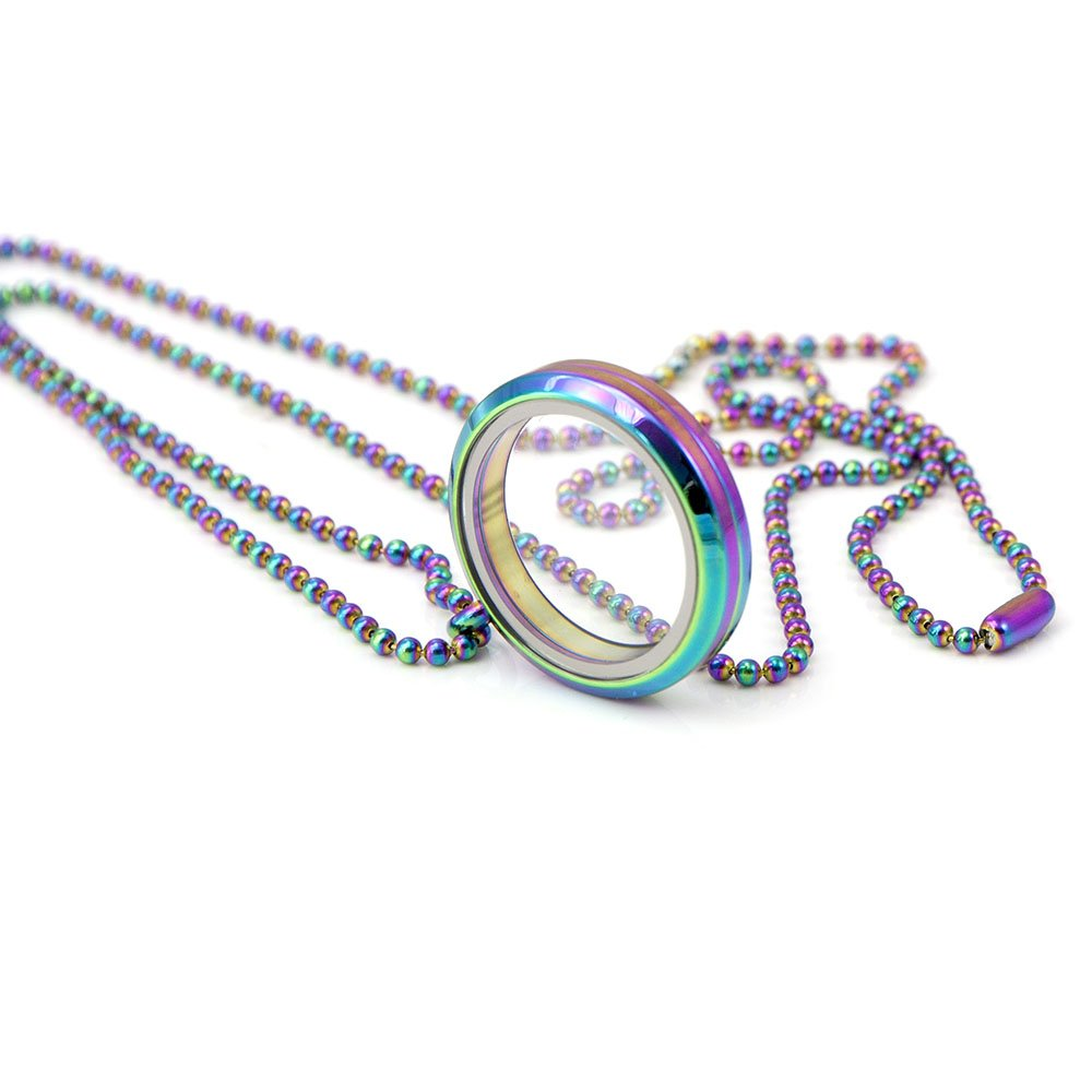 EVERLEAD Living Memory Floating Round Locket Pendant Necklace 316L Stainless Steel Toughened Glass Free Chain and Zircon (Rainbow30mm)