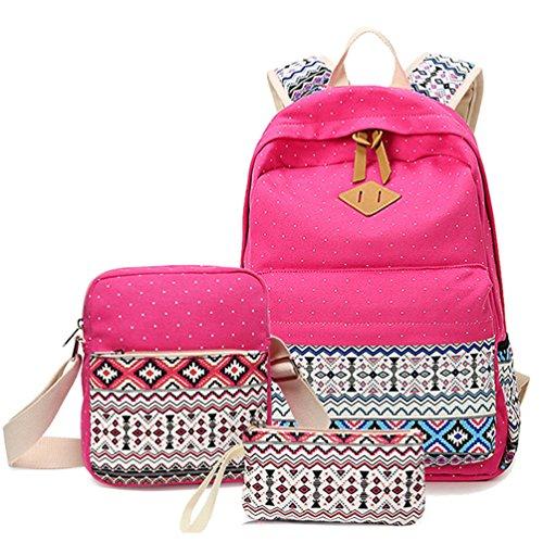 bolsa lienzo Cute chicas 1 Rose carmine adolescentes Casual set mochila Fashion geometría jóvenes lunares para mochilas ligero HITOP Stwq0xXHn7