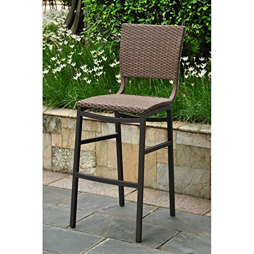International Caravan 523689 Wicker Resin/Aluminum Patio Bar Stool, Set of 2, Brown