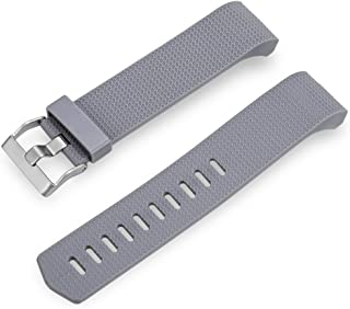 ZhangHongJ,Bracelet en Silicone à Boucle à ardillon de 22 mm pour Bracelet Intelligent Fitbit Charge 2(Color:Gris)