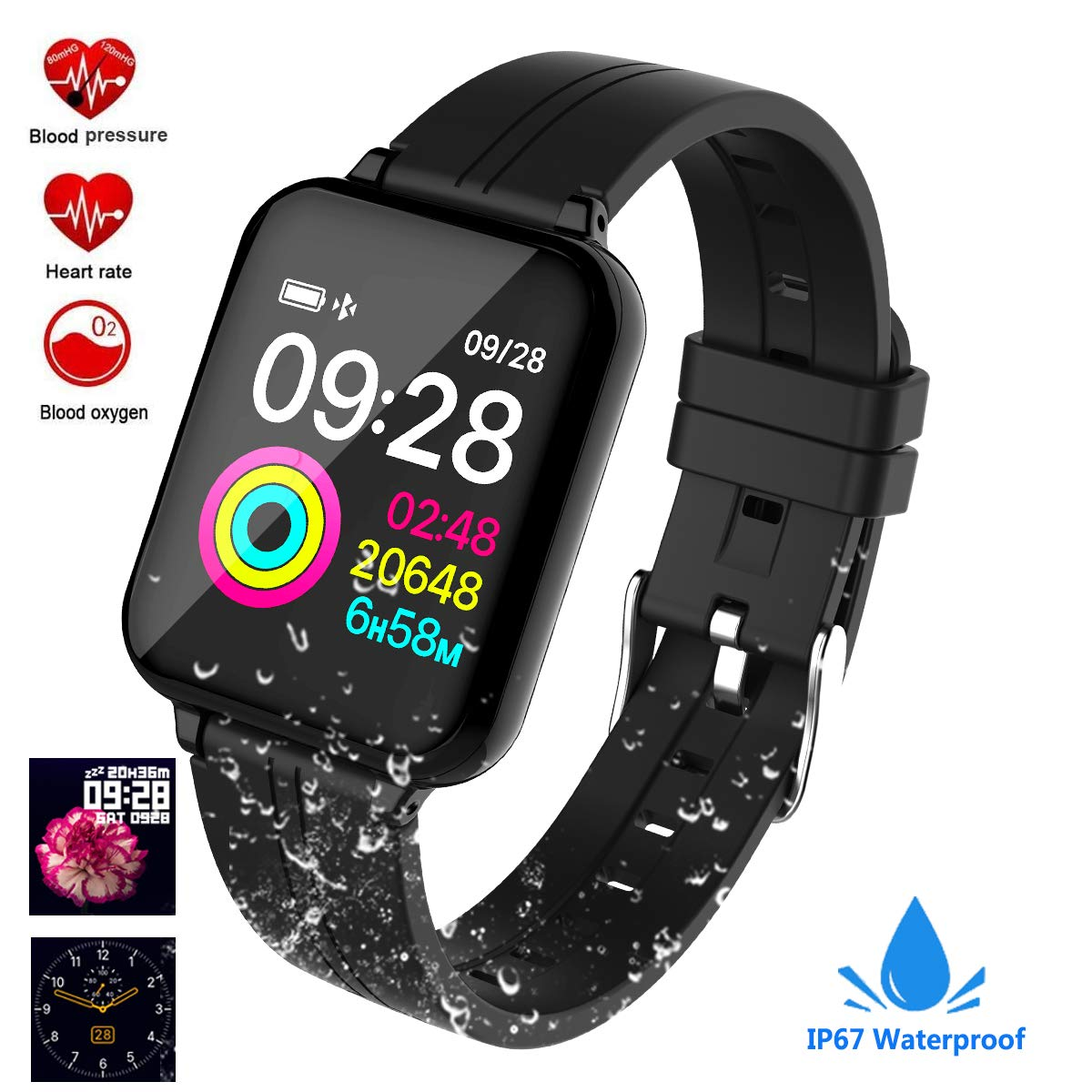 feifuns Smart Watch, Fitness Tracker Activity Tracker with Heart Rate Monitor 1.3 Color Screen with Blood Pressure Sleep Monitor Step Tracker Calorie Counter IP67 Waterproof Band for Men Women Kids